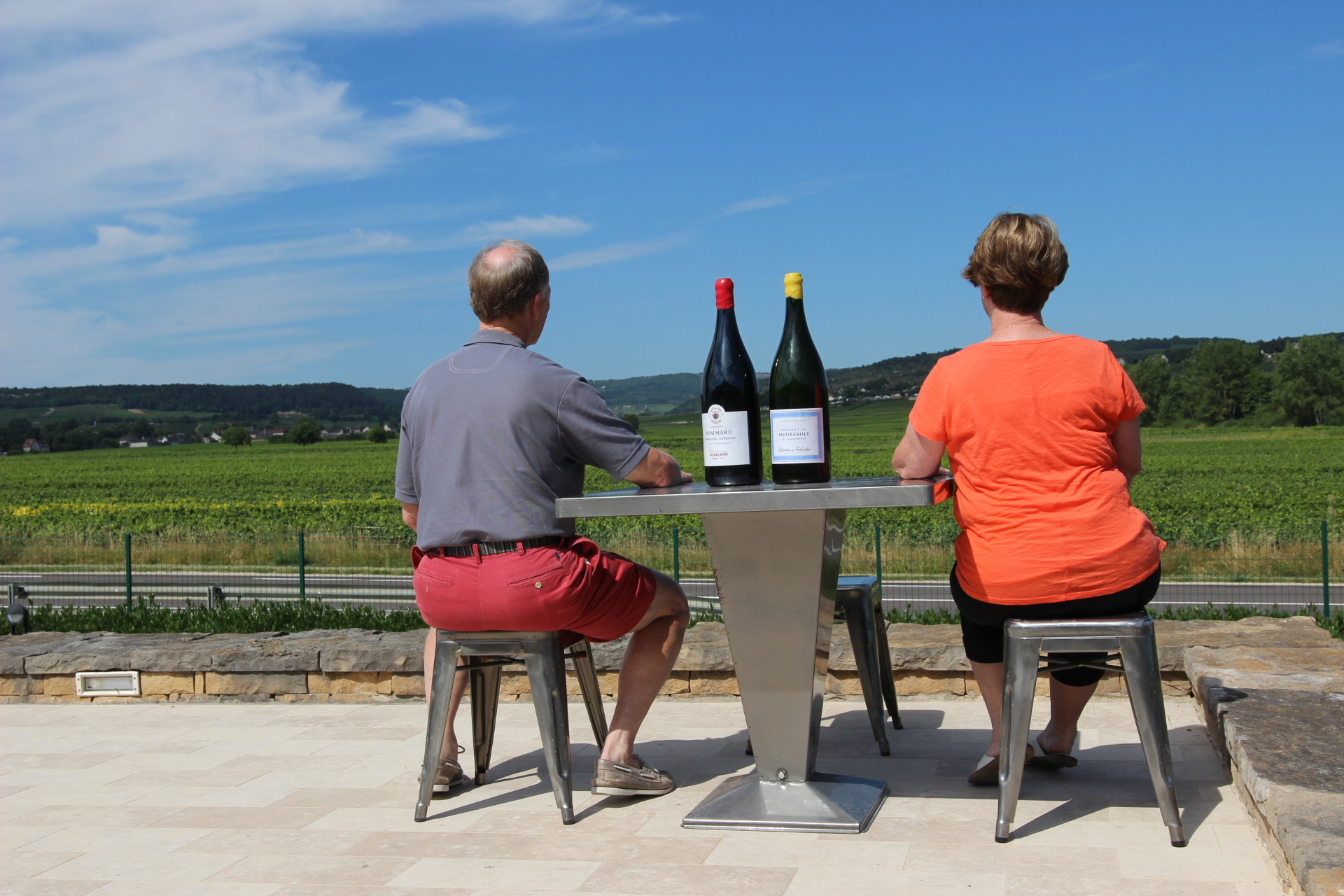 Guests with wine in Burgundy