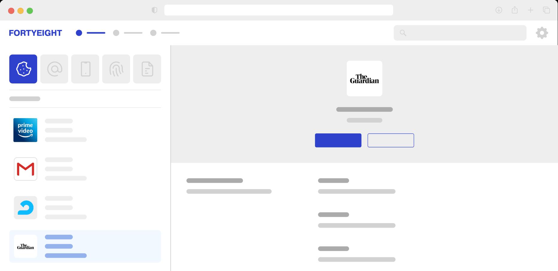 FORTYEIGHT web app on desktop