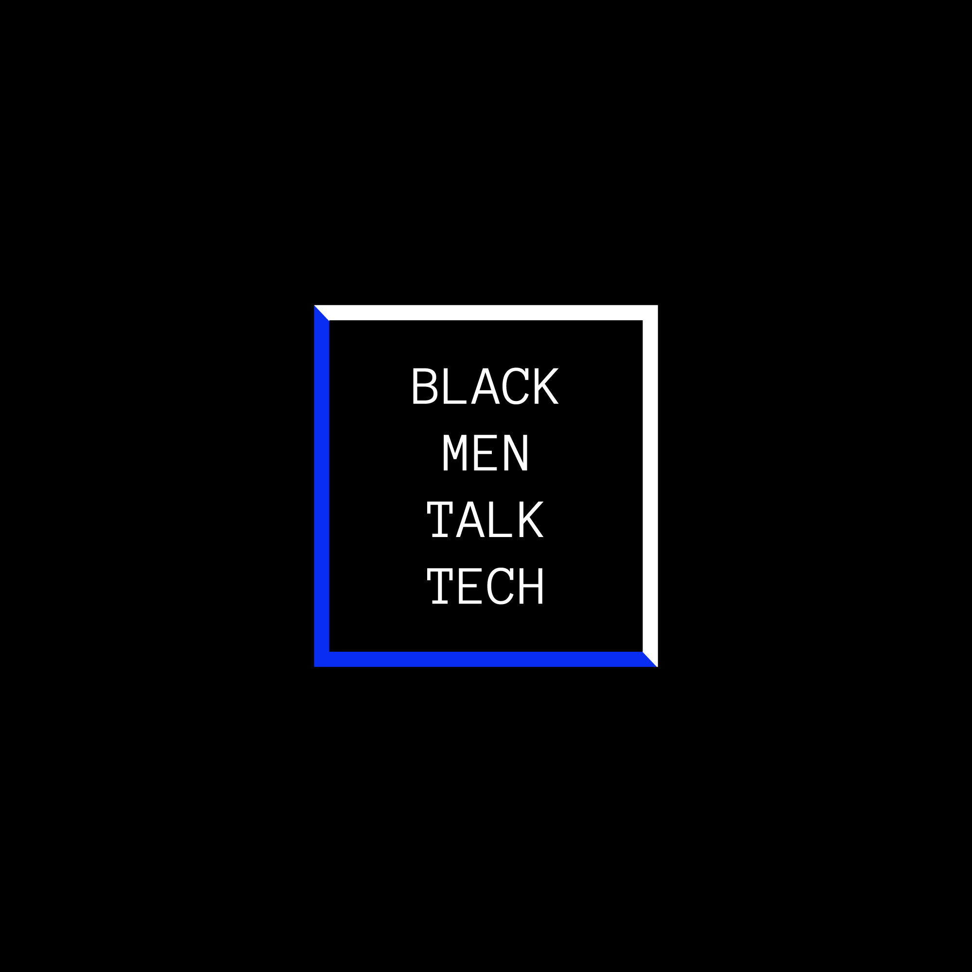 Black Men Talk Tech logo, white text, black background