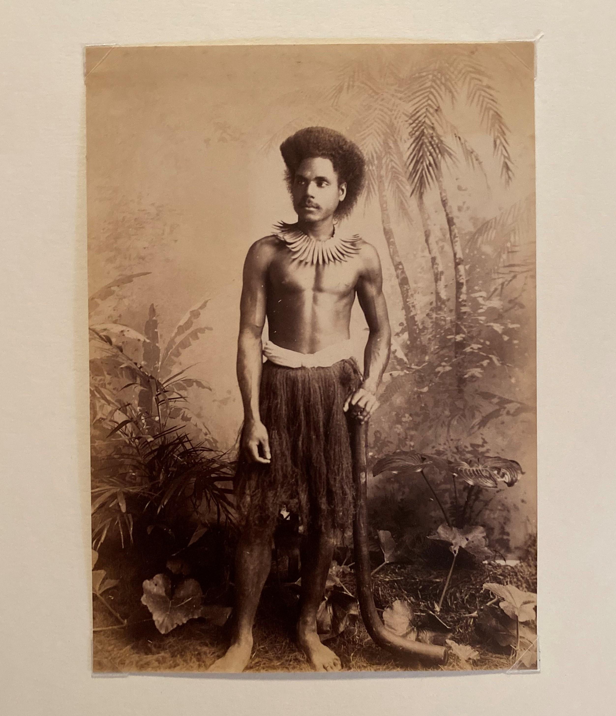 Fijian Warrior with Club Fiji C1885