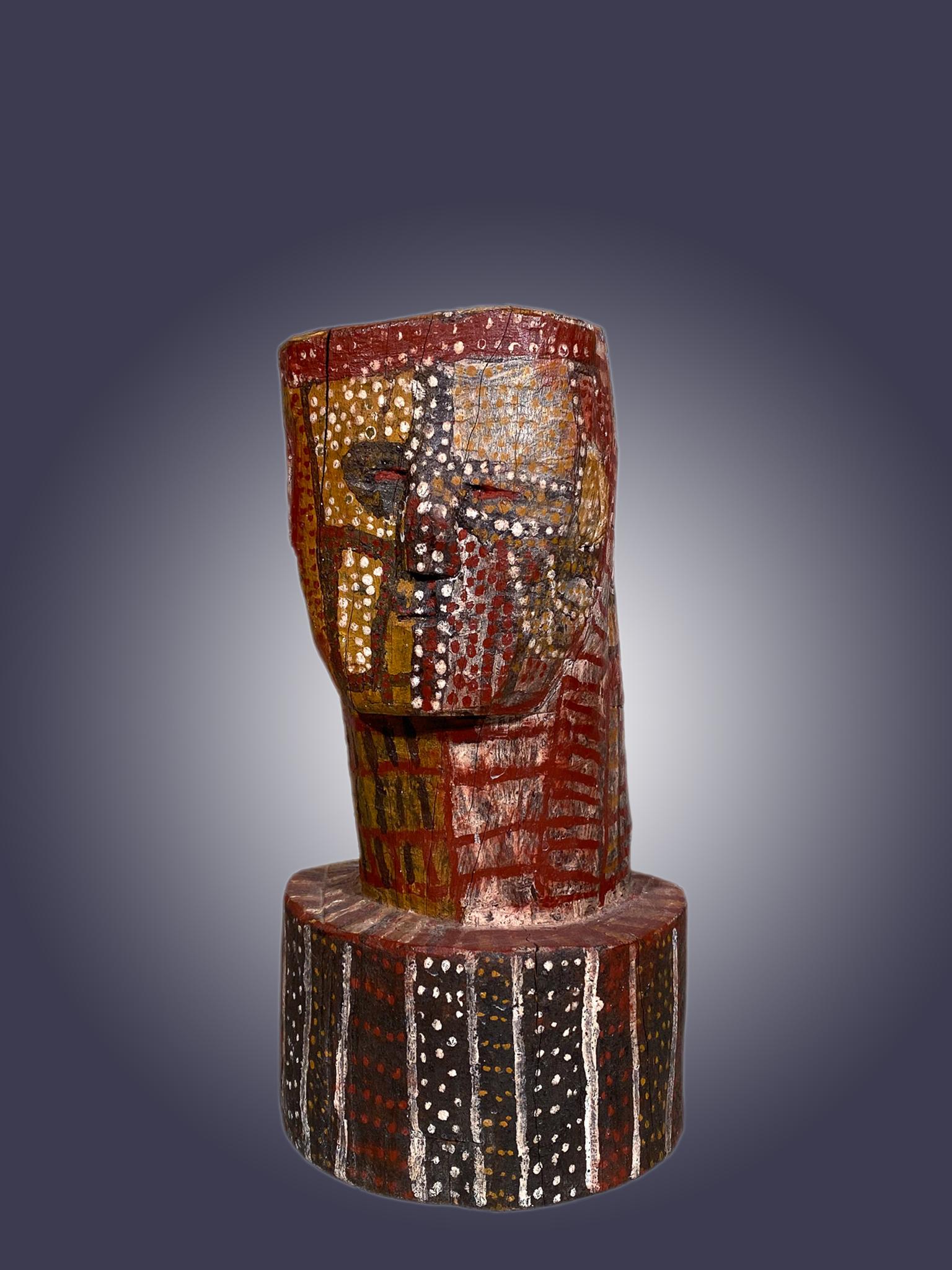 Painted Bust  attributed to Indigenous Tiwi artist  Kitty Kantilla (Kutuwalumi Purawarrumpatu)