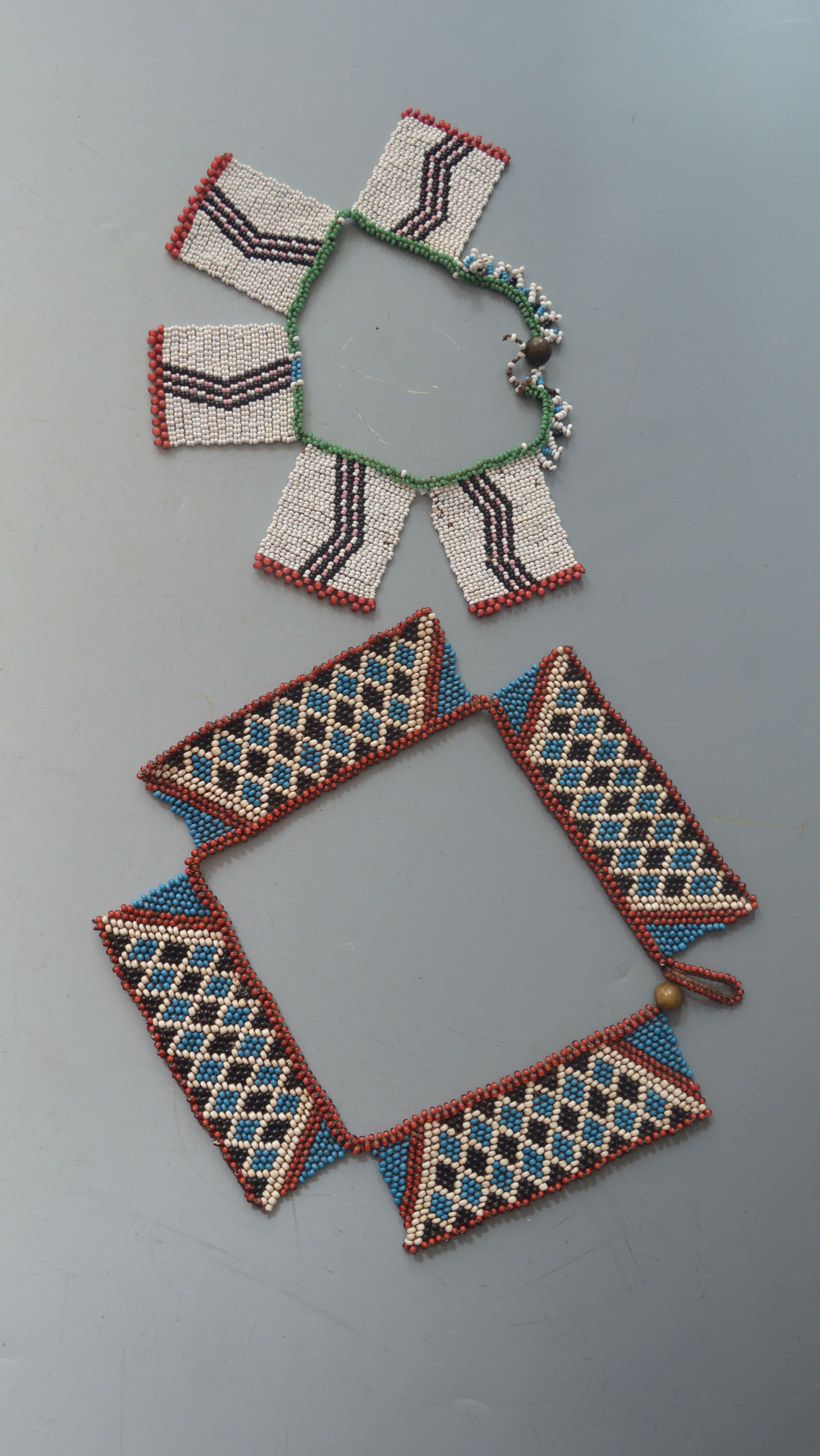 Two Zulu Bead Work Necklaces