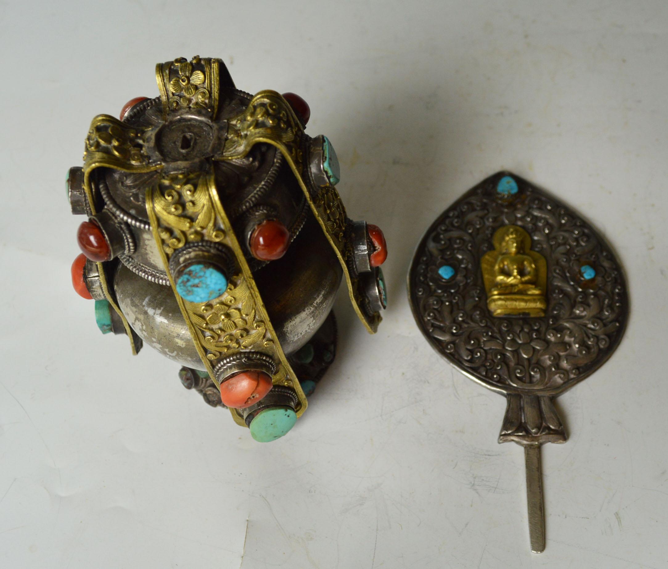 Rare Tibetan Silver Votive Stupa