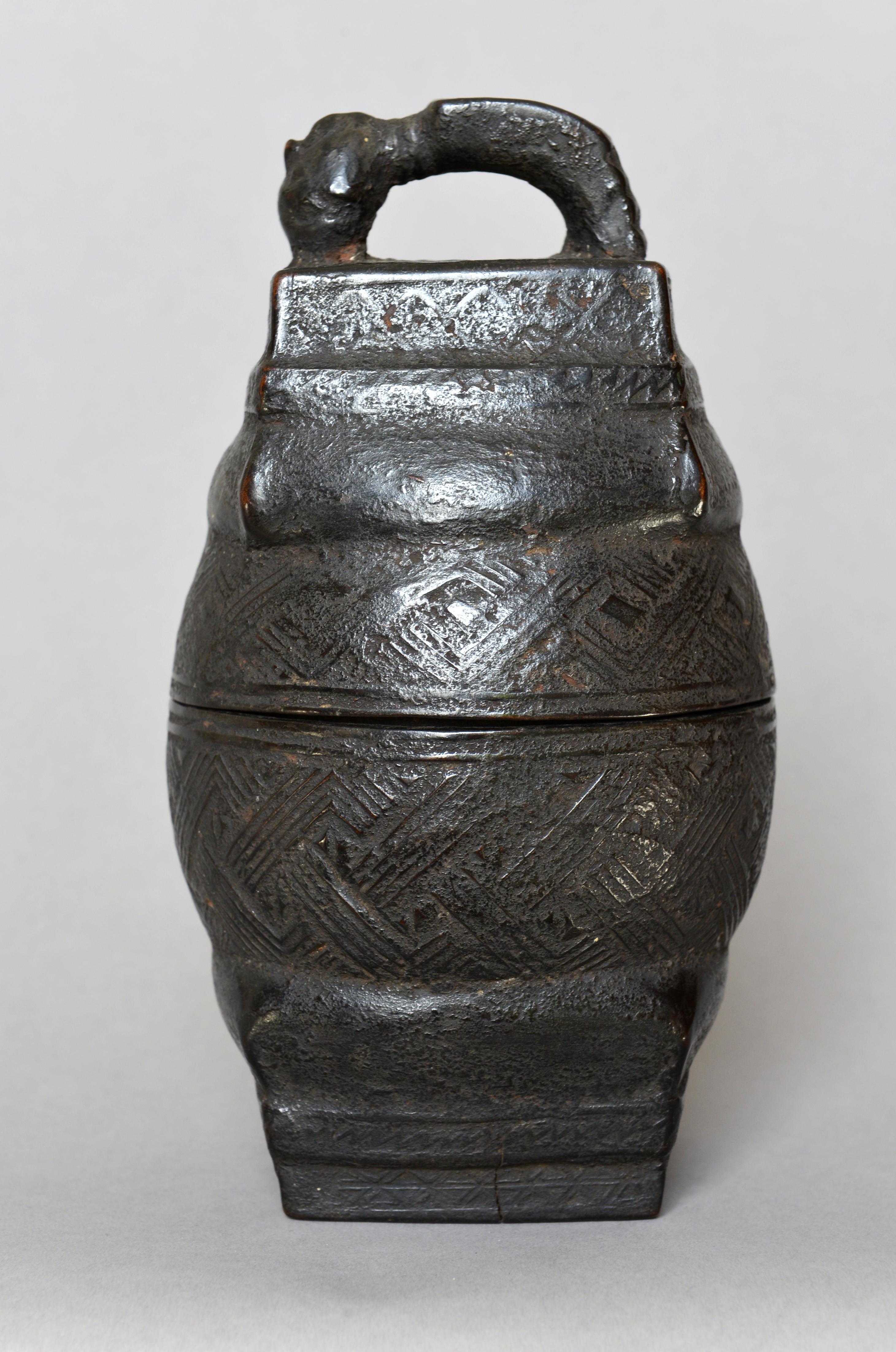 An early 20th C Kuba tukula vessel / box