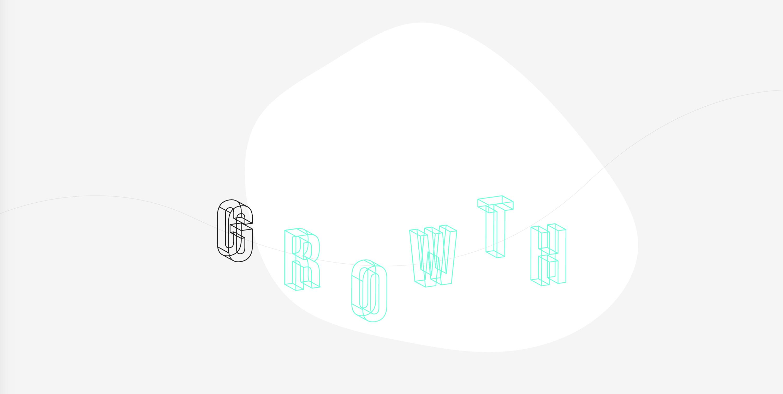 Growth written in 3D letters