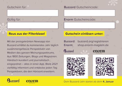 Buzzard Geschenk-Gutschein Rückseite