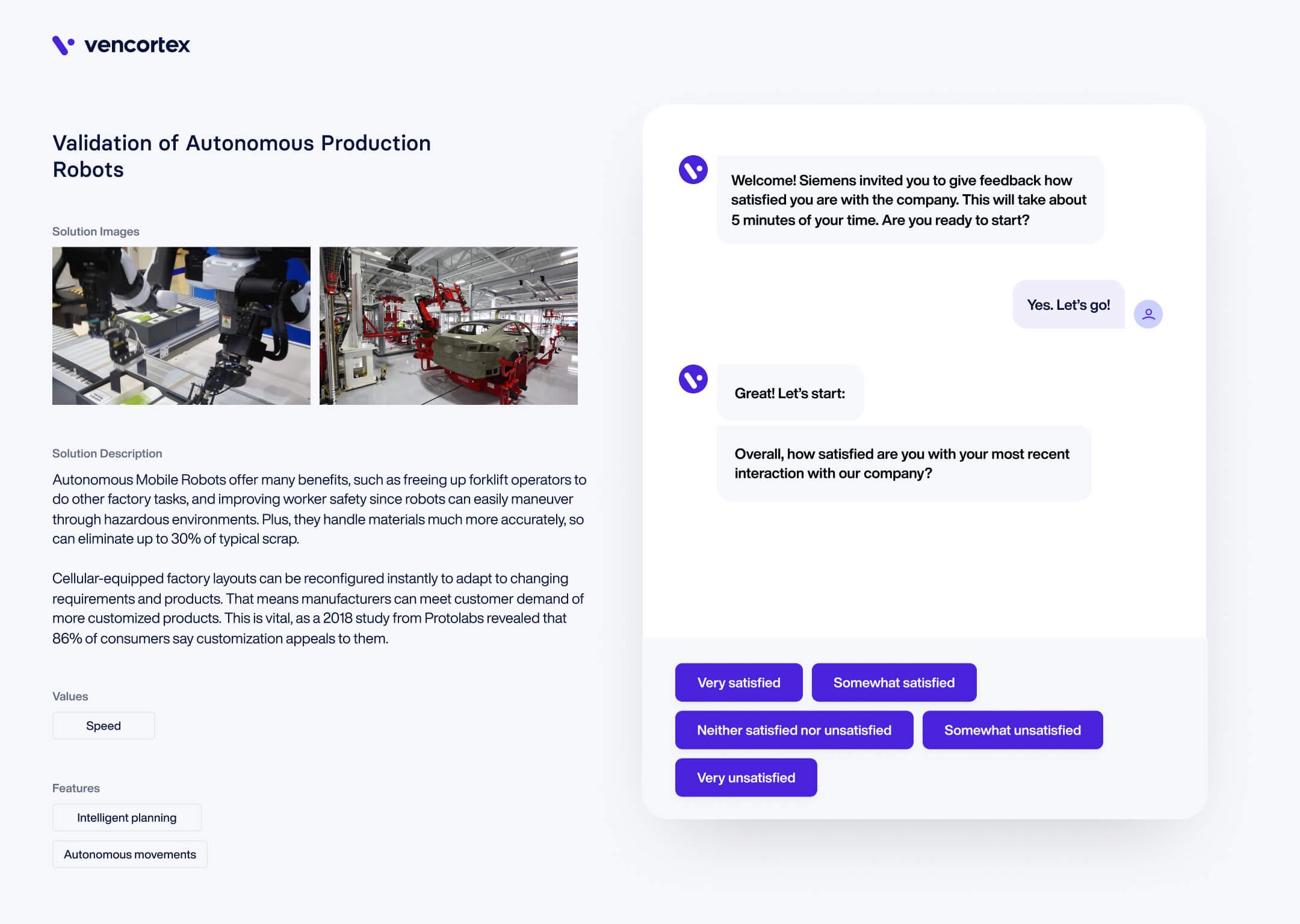 vencortex® | Sense Customer Feedback Screen