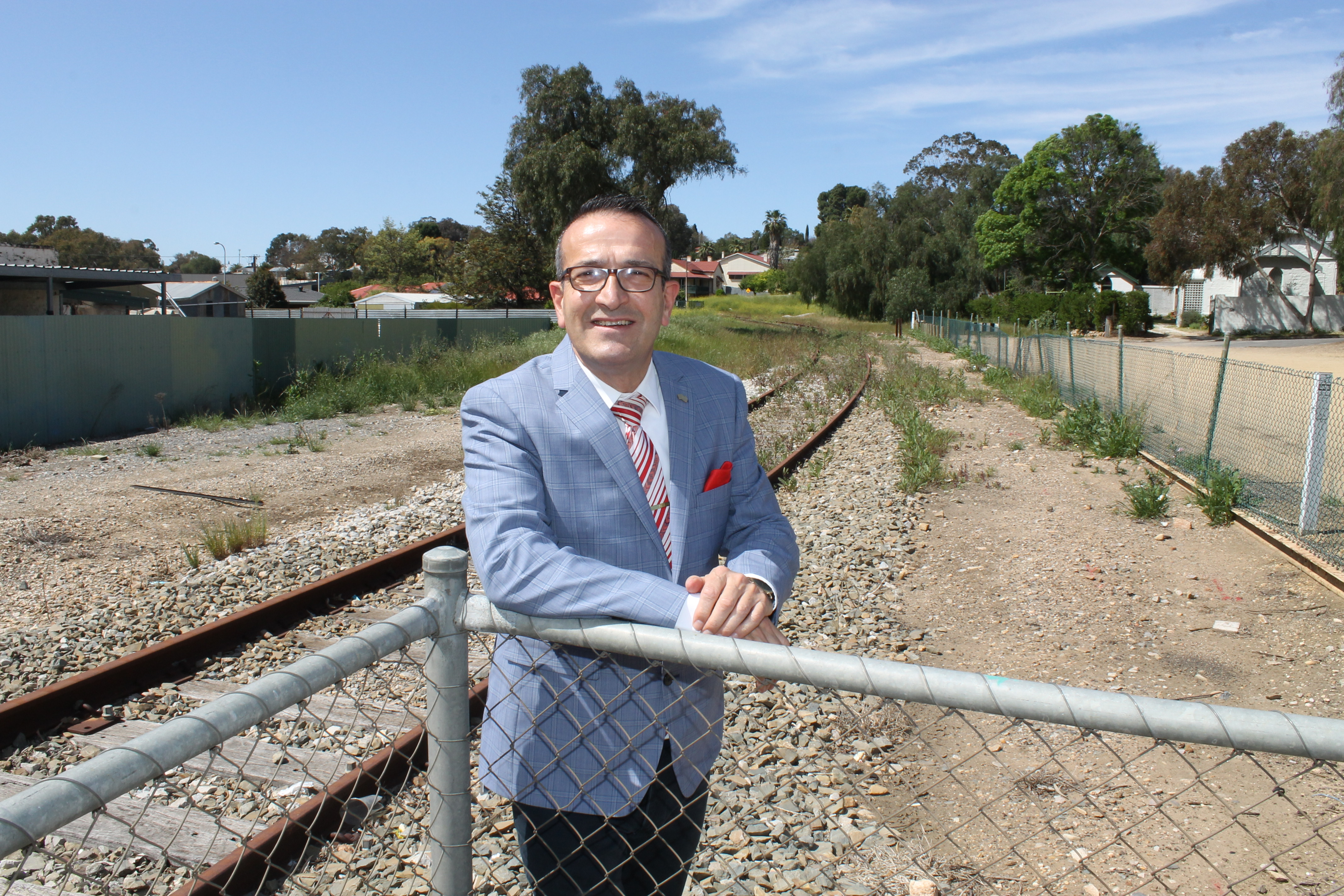 Tony Piccolo at the site of a possible new Gawler platform or siding where a tourist train service to the Barossa could start from.