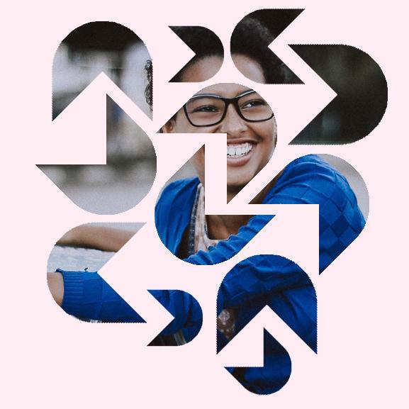 Girl smiling inside DifferentKind logo