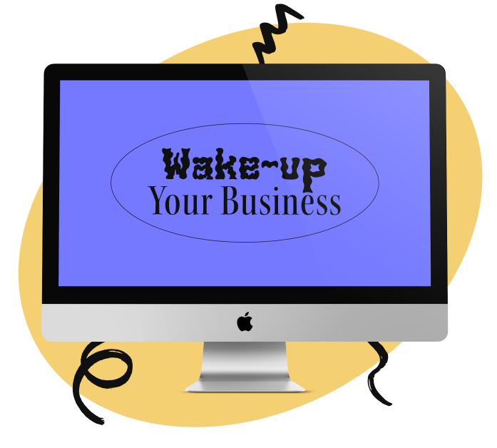Imac with wake-up your business logo