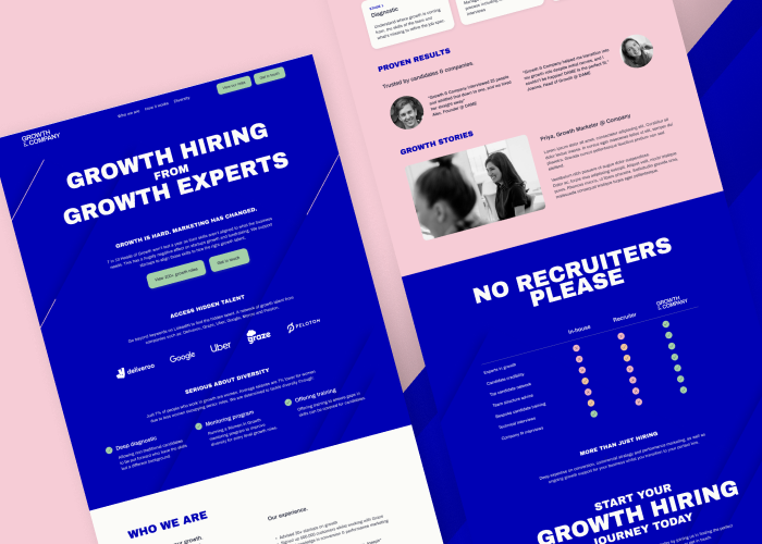 Growth and company website mock