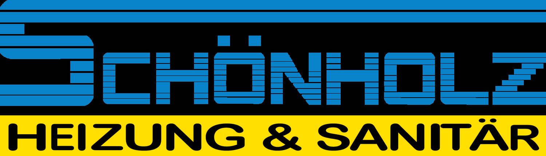 Das offizielle Logo der Firma Schönholz. Ein blauer Schriftzug mit einem gelben Untertitel auf dem steht: Heizung und Sanitär.