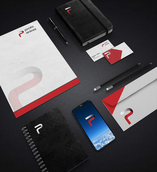Pacific Airlines branding mockup