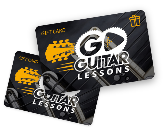 Two Go Guitar gift cards stacked on top of each other