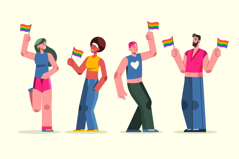 Ilustração de pessoas com a bandeira LGBTQIA+