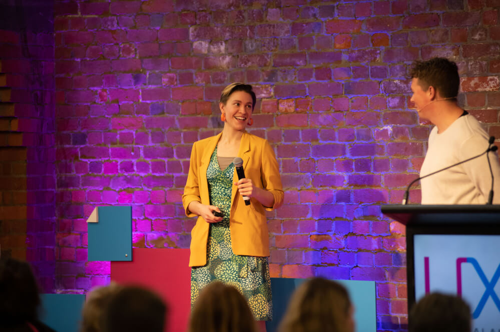 A speaker at UX New Zealand