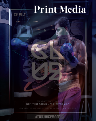 Print Media example picture of boxer and fitness club.