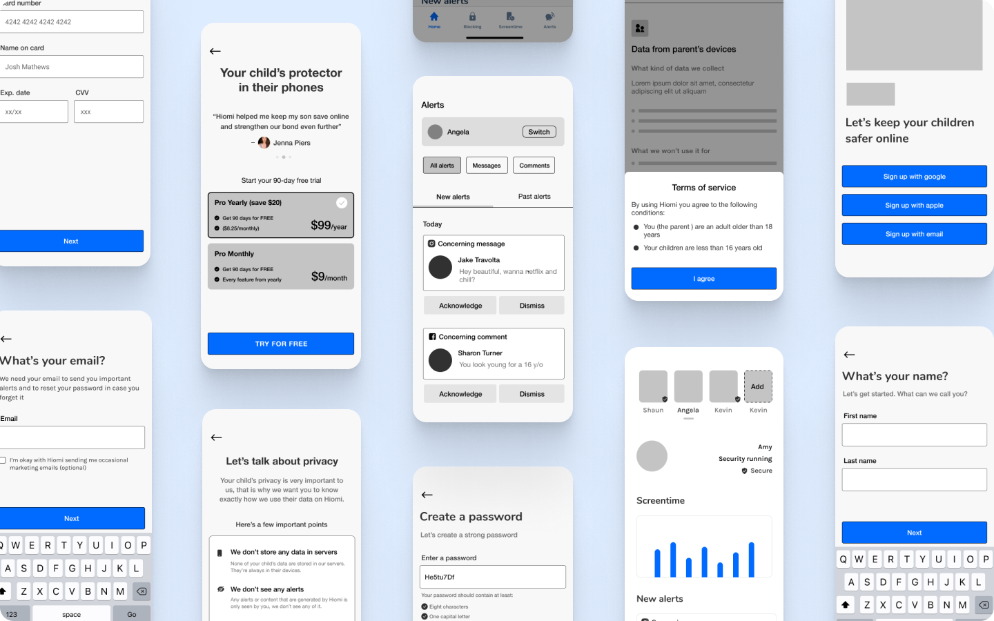 collection of wireframes