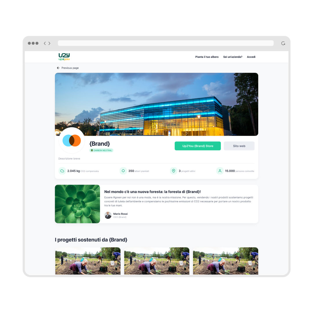 Pagina brand come asset comunicativo fornito da Up2You