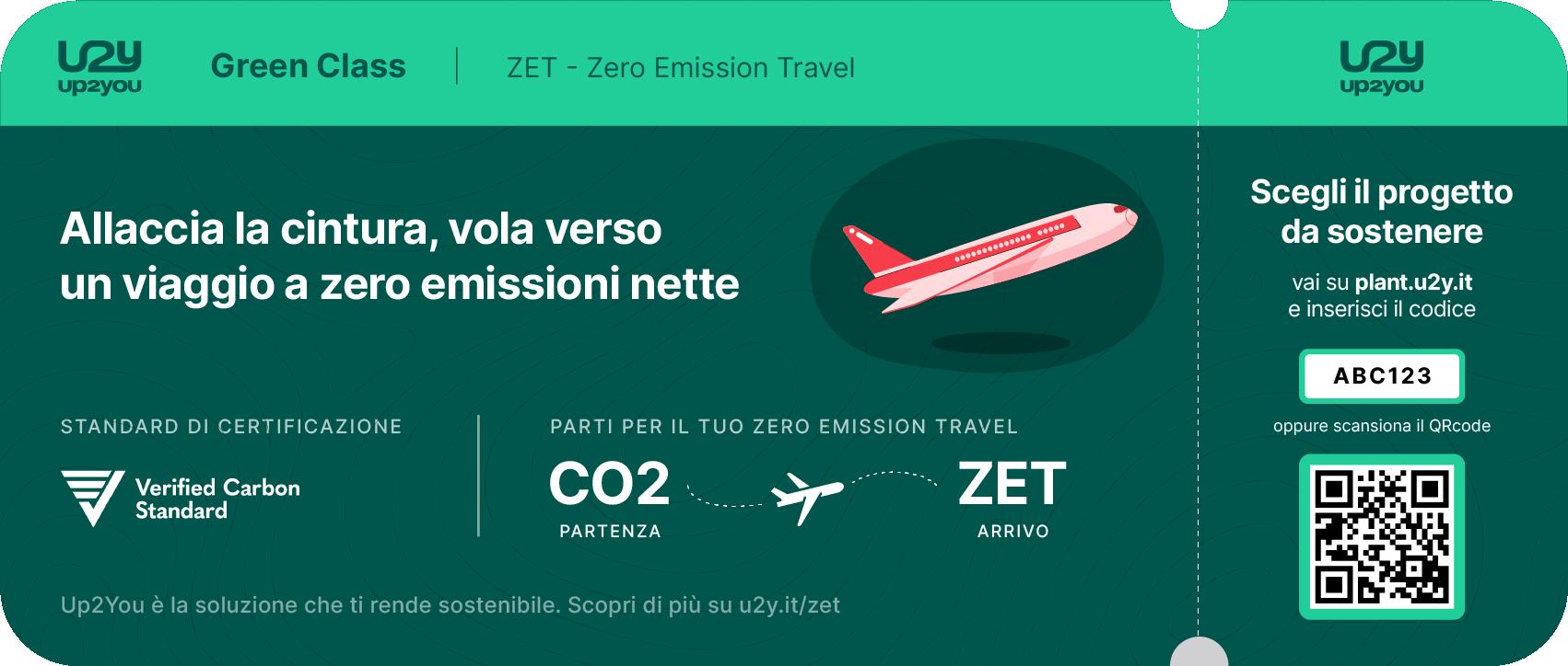 Boarding pass aereo per azzerare le emissioni nette di viaggio di lunga tratta e soggiorno