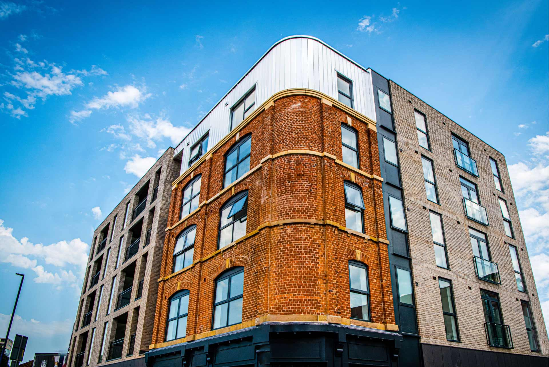A modern building in the UK with aluminium windows