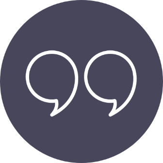 Round icon with quotation marks