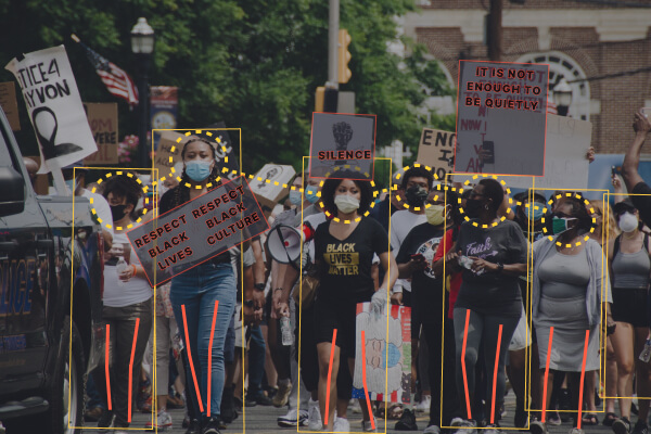 facial recognition, gait recognition and image analysis during protests