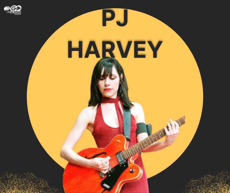 PJ Harvey in a red dress playing a guitar