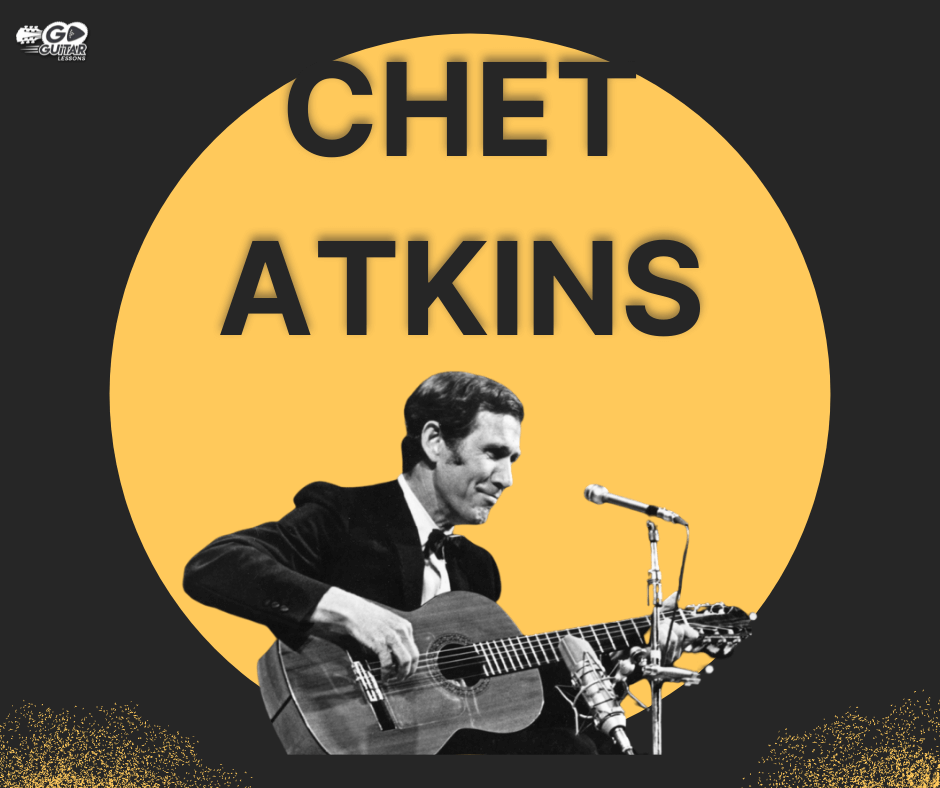 Chet Atkins playing the guitar