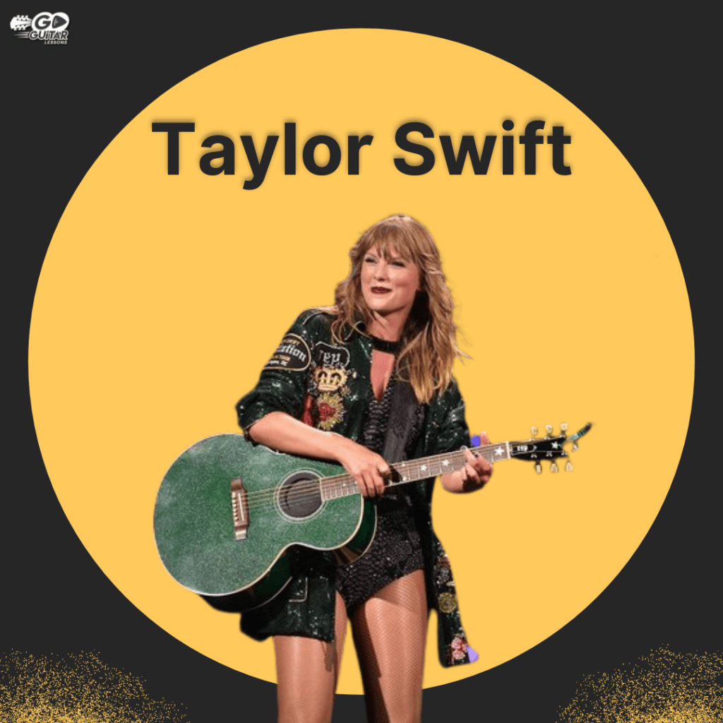 Taylor Swift playing a green guitar