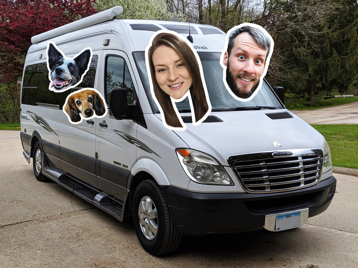 Cutout heads of Amanda Morrow, her boyfriend, and her dogs on photo of camper van