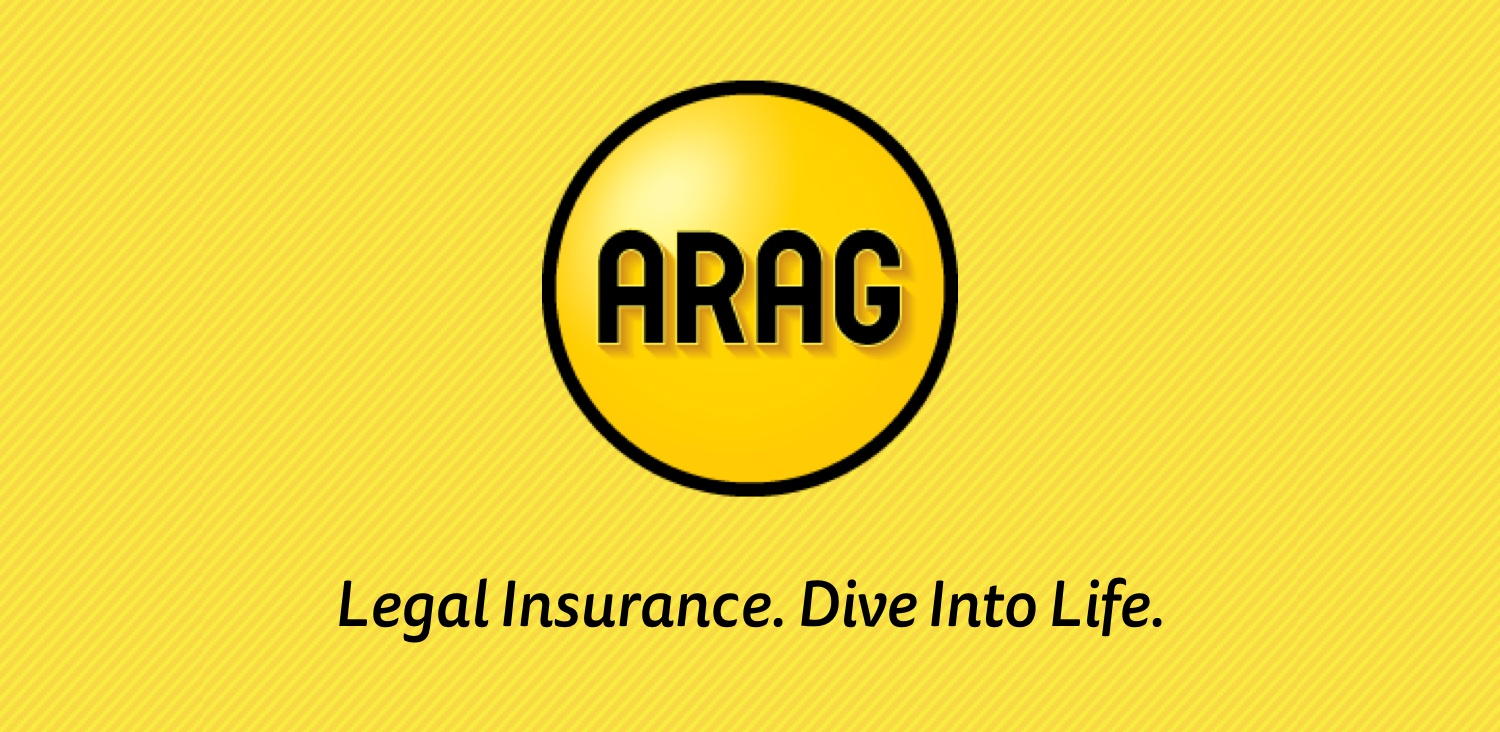 """ARAG Logo and """"Legal Insurance. Dive Into Life."""" on striped yellow background"""