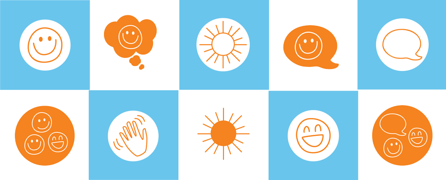 Image of icons created for the brand. They include smiley faces, a sun, speech bubbles, and a waving hand.