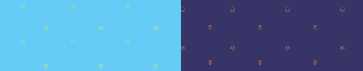 Image of the brand pattern. Both patterns show smiley faces scattered across a background. There is a light version on light blue and a dark version on dark blue.