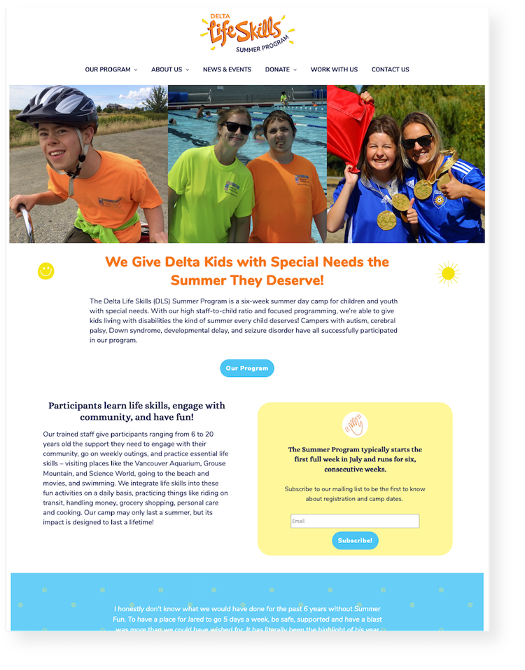 Image shows a screenshot of the website home page including: the main menu, images from a previous camp, and copy describing the camp.
