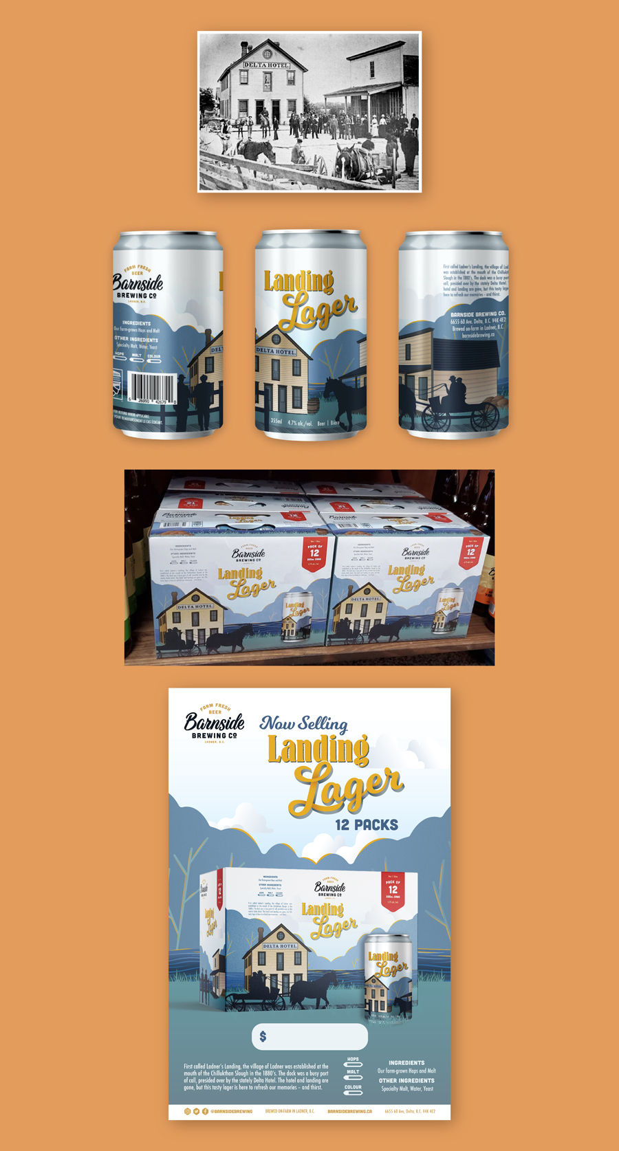 Long image that shows: 1. an archival photo of the Ladner's Landing area in the 1910's. 2. the illustrated can design, shown on three cans. 3. a photo of the 12 pack case box on a store shelf. 4. a poster promoting the Landing Lager beer.