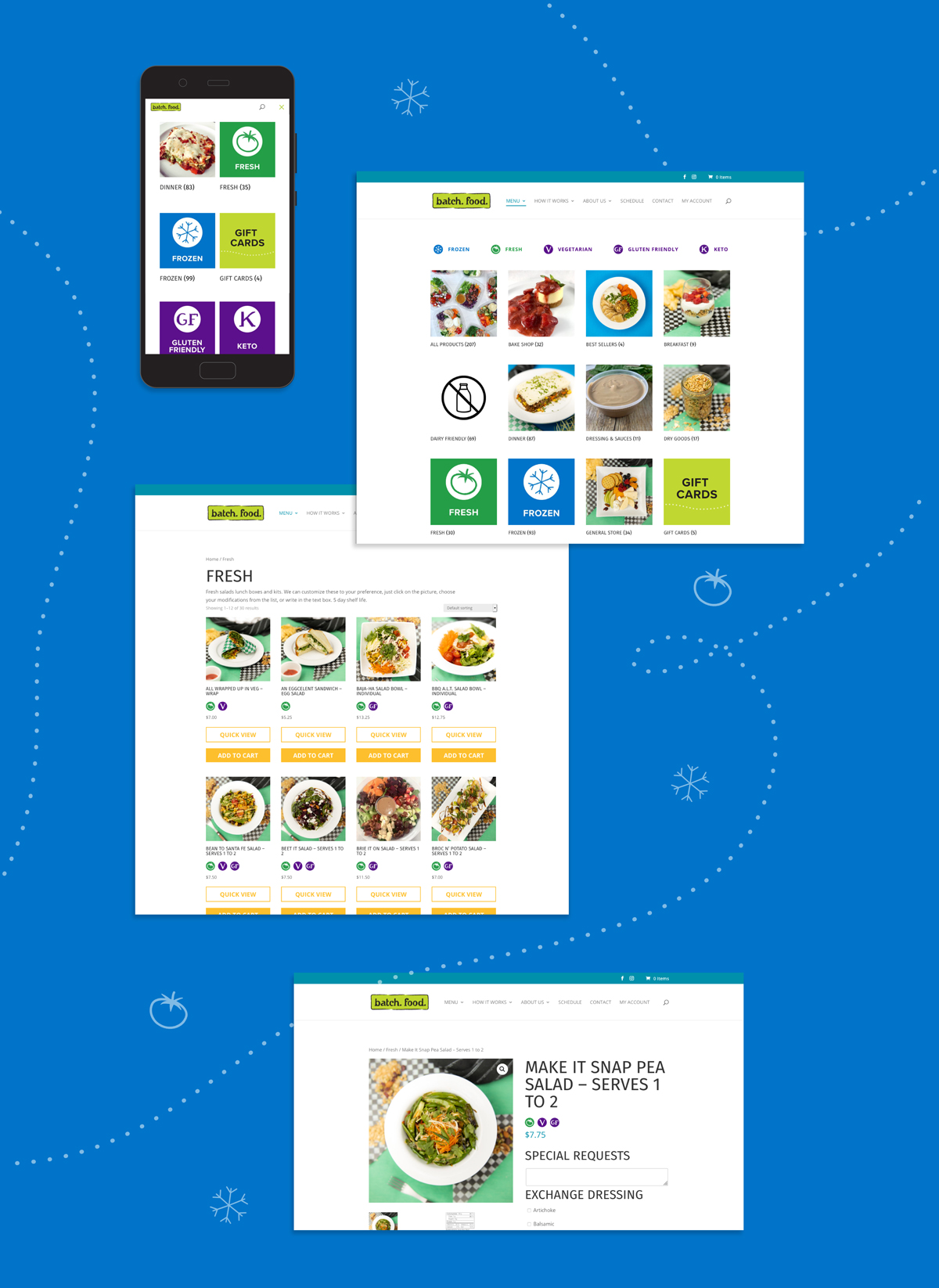 Image shows the batch food website on mobile phone and desktop. On all screens there are icons representing food categories, like fresh or frozen. The screens how how these apper on different parts of the site, like while browsing the menu or on a product page.