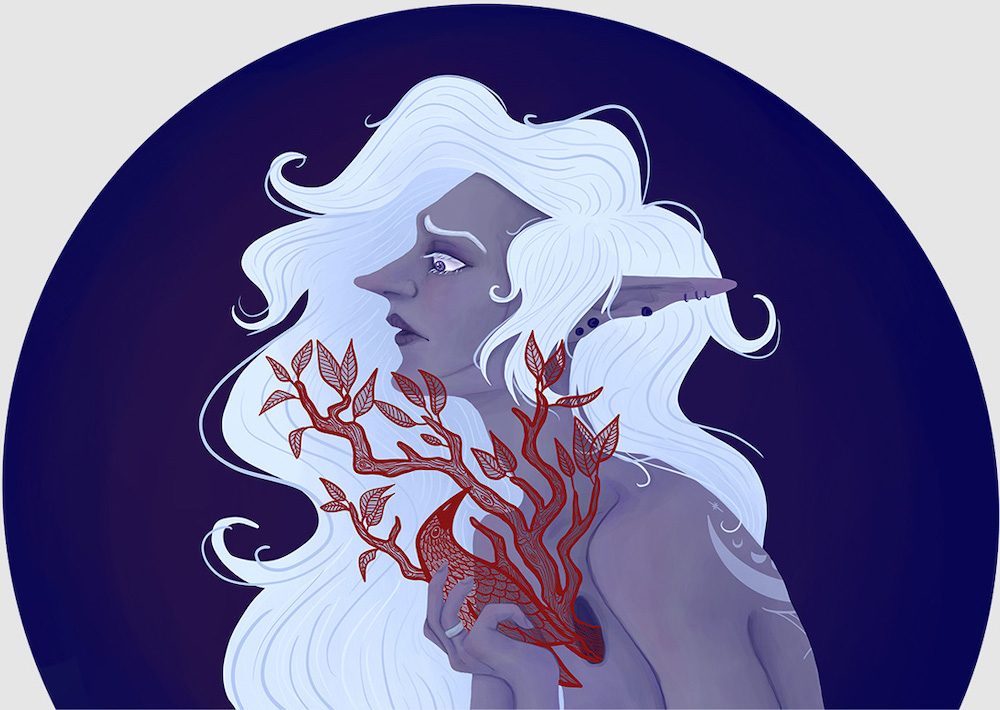 Image shows a fantasy portrait illustration. The character is a purple skinned elf with flowing white hair. There is a hole in her chest from which a red tree is growing. She holds a bird in her hand and looks down at it.