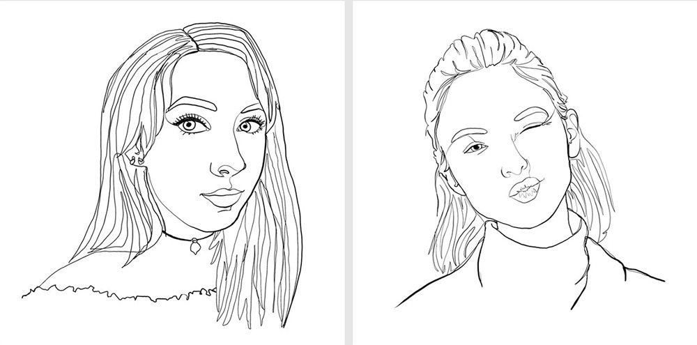 Image shows two portraits, both in a black and white line art style. The people depicted are both yougn women, both looking at the camera.