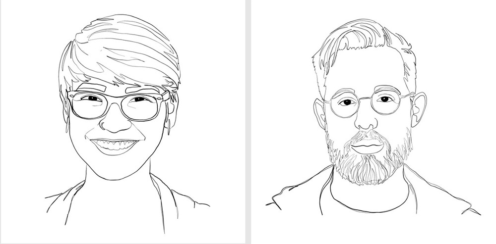 Image shows two portraits, both in a black and white line art style. On the left is a young woman with glasses, and on the right a man with glasses and a beard.