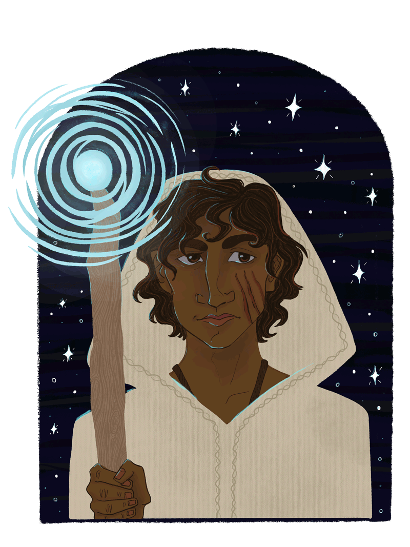 Portrait of a fictional fantasy character, the Sparrowhawk from the Wizard of Earthsea book series. He faces the viewer, wearing a hood and holding a glowing staff. Around him is the night sky with stars.
