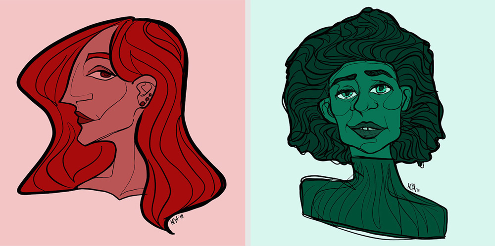 Image shows two colourful portraits. oth are of women, one in red and a profil view. The other in green and viewed straight on.