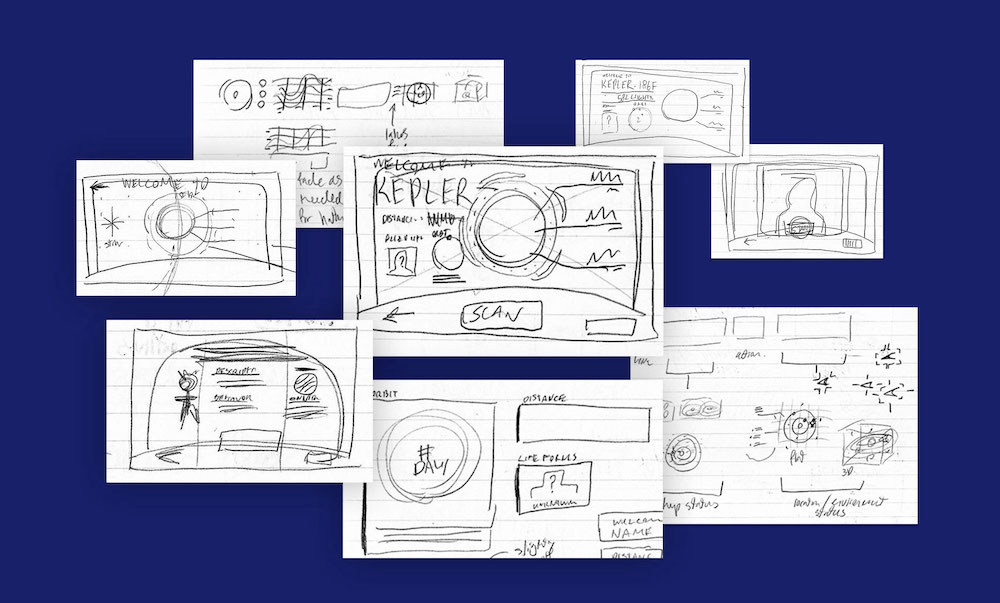 Image of early pencil sketches for design layouts.