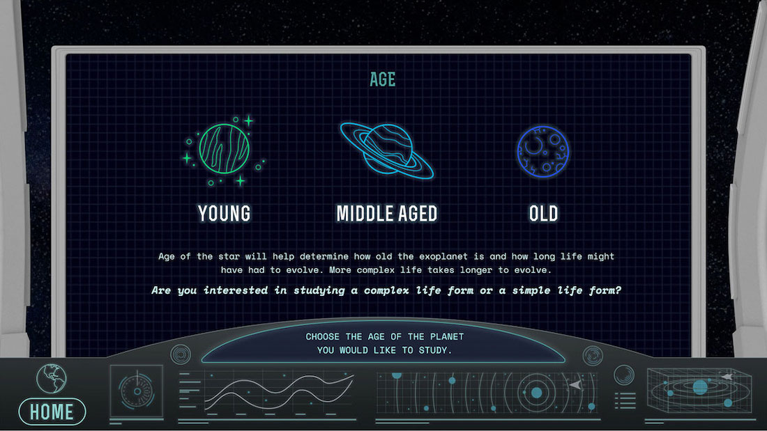 Image of UI design. The design shows a space ship dashboard, as if you're standing in front of it. On the screen there are three different planet icons, with text asking the user to select one.