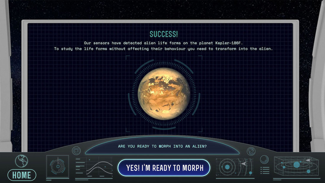 Image of UI design. The design shows a space ship dashboard, as if you're standing in front of it. On the screen there is a planet and text telling the user they can visit it in the experience.