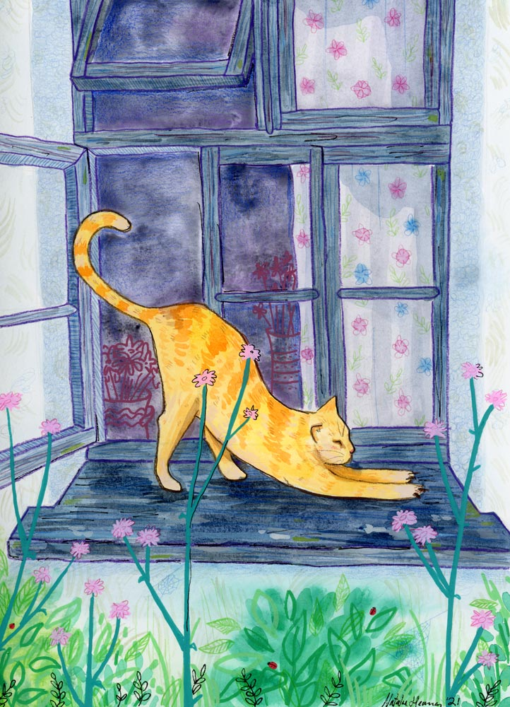 Illustration shows an orange cat stretching on a window sill.