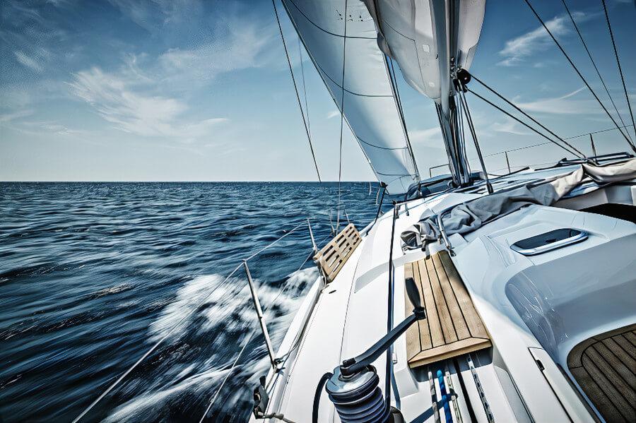 A yacht sailing on the ocean