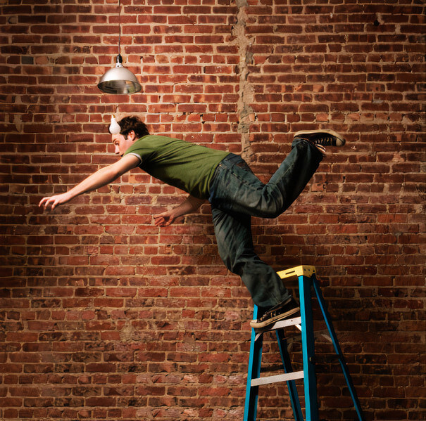 A man falling from ladder