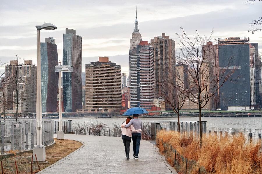 A couple under an umbrella