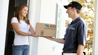 LSO driver delivering a package to a female client.